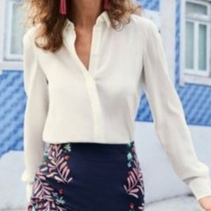 Cuyana Gathered Silk Blouse in Ivory